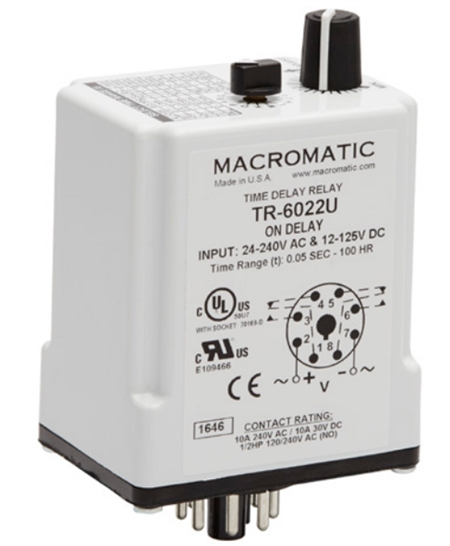 Macromatic TR-6022U 24-240VAC On Delay Time Delay Relay on gas valve wiring, timer wiring, control wiring, time delay fuse box, contactor wiring, resistor wiring, surge protector wiring, inverter wiring, cable wiring, condensate pump wiring, distributor wiring, potentiometer wiring, strobe light wiring, time delay stop start, air conditioner motor wiring, thermostat wiring, blower motor wiring, time delay module, terminal block wiring, switch wiring,